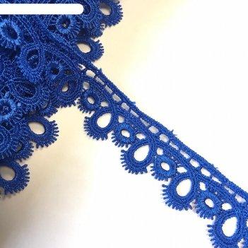 Кружево, размер 2,5 см, 1 ярд, цвет синий