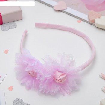 Ободок для волос малышка 1 см две розы вуаль