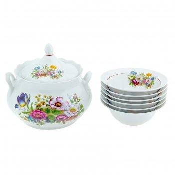 Набор для пельменей букет цветов, 7 предметов: супница 3 л, 6 тарелок 175