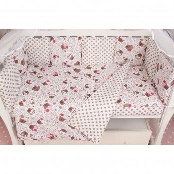 Комплект в кроватку premium «десерт», 19 предметов, бязь, цвет розовый