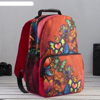Рюкзак молодёжный, отдел на молнии, наружный карман, цвет оранжевый