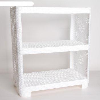 Этажерка для обуви плетенка, 3 секции, белая