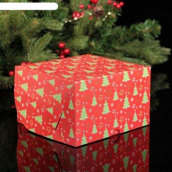Коробка картонная на 4 капкейка елочки, 16 х 16 х 10 см