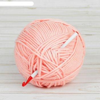 Крючок для вязания, d = 7 мм, 14 см, цвет белый/красный