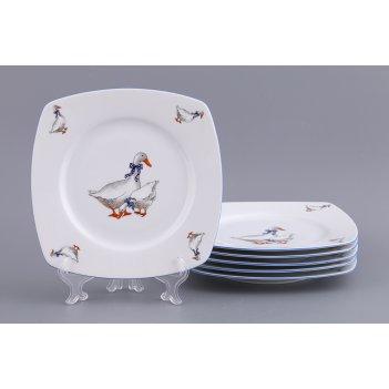 Набор тарелок тетра гуси из 6 шт.19*19 см.