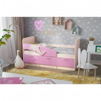 Кровать дельфин-5 1.9, 1932х850х850, дуб молочный/ламарти розовый