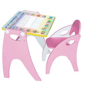 Стол-парта-мольберт (трансформер) цвет розовый аппликация буквы-цифры