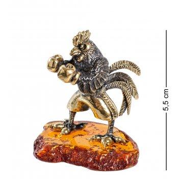 Am-1375 фигурка петух боксер (латунь, янтарь)