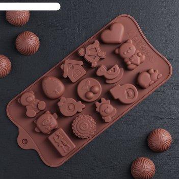 Форма для льда и шоколада «счастье есть», 21x11x1,5 см, 15 ячеек