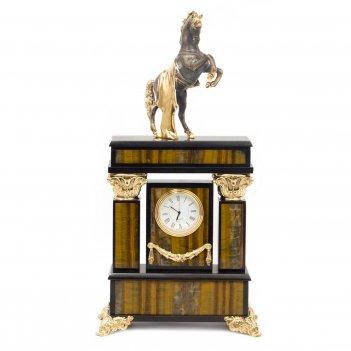 Часы конь с попоной тигровый глаз
