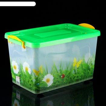 Ящик для хранения 35 л трава, прозрачный