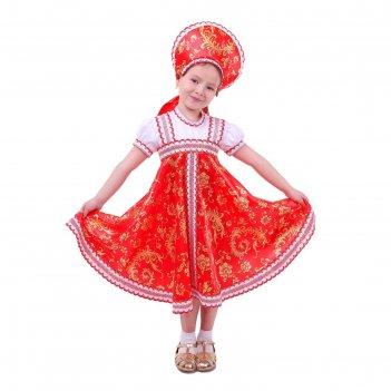 Русский народный костюм для девочки с кокошником красно-бежевые узоры разм