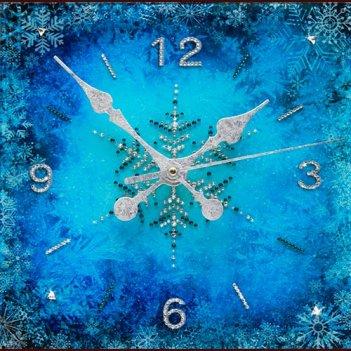 Картина сваровски - часы зимний узор
