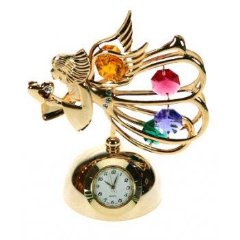 Фигурка декоративная с часами ангел 10см