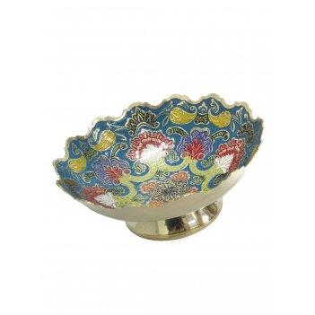 Конфетница латунь голубая цветная эмаль 6''