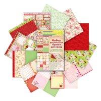 Набор дизайнерской двусторонней бумаги винтаж 12 листов 160гр/м2