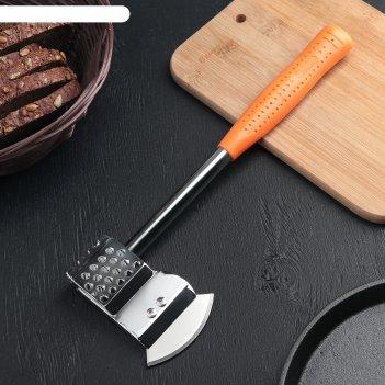 Молоток-топорик с прорезиненной ручкой для отбивки мяса 336 гр, цвет микс