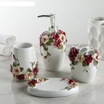 Набор для ванной волшебный сад 4 предмета (мыльница. дозатор для мыла, 2 с