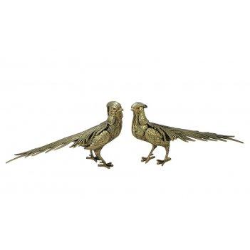 Бронзовая статуэтка фазаны золото