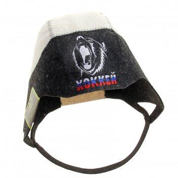 Шапка банная шлем хоккеиста с вышивкой, войлок, черный