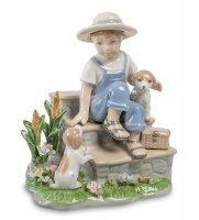 Cms-12/24 статуэтка мальчик со щенками (pavone)