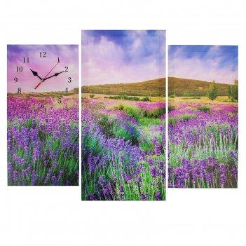 Часы настенные модульные «цветочное поле», 60 x 80 см