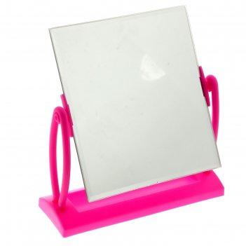 Зеркало настольное на подставке прямоугольник, цвет розовый