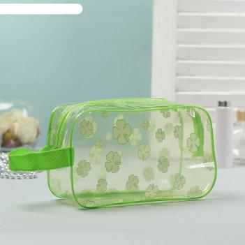 Косметичка-сумка банная клевер с ручкой, цвет салатовый