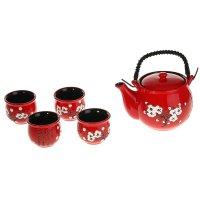 Набор для чайной церемонии белая сакура на красном, 5 предметов: чайник 60