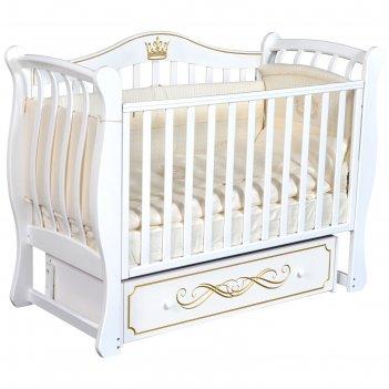 Детская кровать bella-2, автостенка, ящик, универсальный маятник, цвет бел