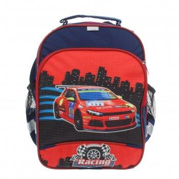 Рюкзак детский на молнии машина, 1 отдел, 3 наружных кармана, красный