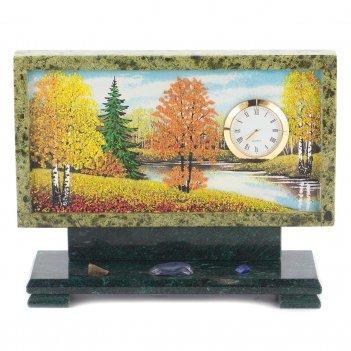 Часы с рисунком осень змеевик 220х70х170 мм 2000 гр.