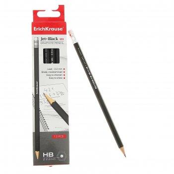 Набор карандашей чернографитных с ластиком 12 штук erich krause jet black