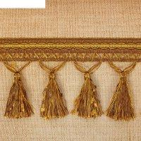 Тесьма для штор с кисточками, 12м, ширина 10см, цвет болотный с бежевым