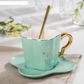 Чайная пара цветок чашка 180 мл, 12х8х7,5 см, блюдце, ложка