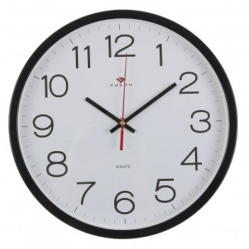 Часы настенные круглые классика, 30 см черные рубин