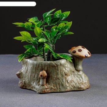 Кашпо керамическое пень с грибами 15*12*8см