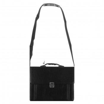 Портфель деловой «шушары», 380 х 290 х 90 мм, искусственная кожа, чёрный,