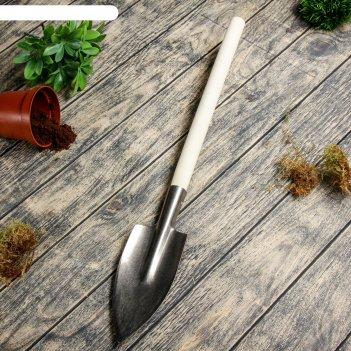 Лопата малая титановая, с деревянным черенком