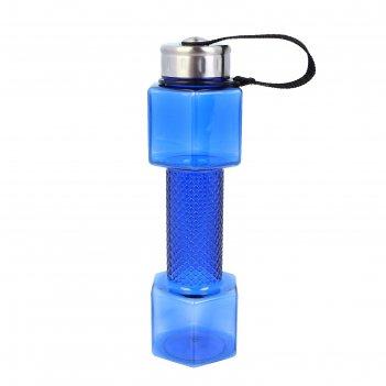 Бутылка для воды гантель, 700 мл, спортивная, 25.5 x 7 см, микс