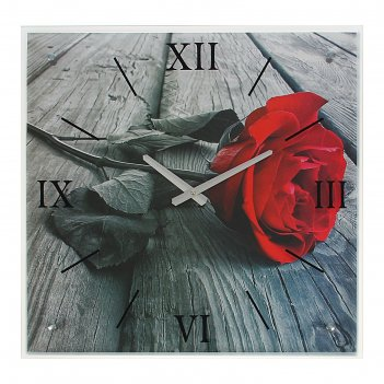 Часы настенные прямоугольные красная роза, 50х50 см