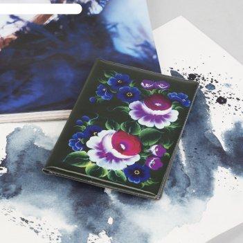 Обложка для паспорта черные цветы