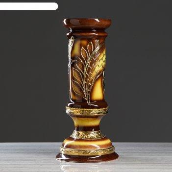Ваза колонна абстракция, коричневая