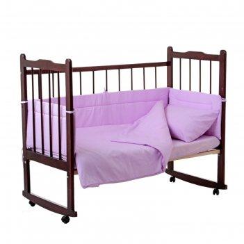 Комплект в кроватку горошки (4 предмета), цвет сиреневый 10403