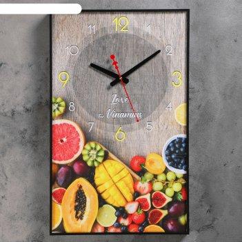 Часы настенные, серия: кухня, тропические фрукты, 37х60 см