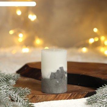 Свеча интерьерная белая с бетоном, 10 х 6 см