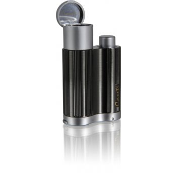 Зажигалка caseti для сигар, газовая турбо, хромированная рифле