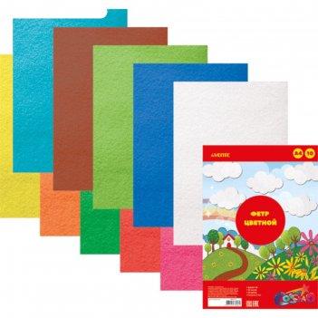 Фетр цветной, набор a4, 2 мм, devente, 10 листов, х 10 цветов, яркие цвета
