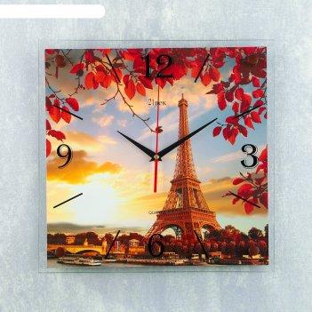 Часы настенные, серия: город, эйфелева башня вечерняя, 35х35 см микс
