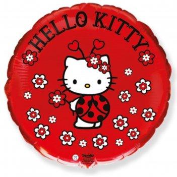 Шар фольгированный 18 круг hello kitty. котенок. божья коровка красный, 1